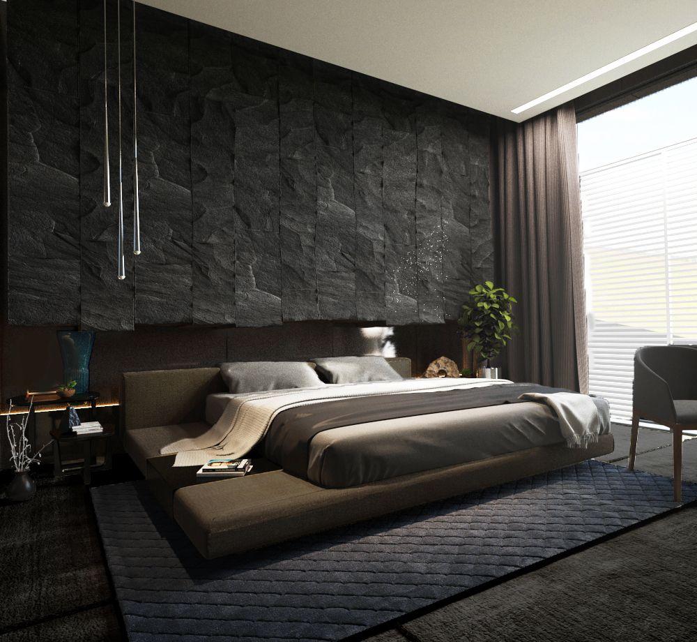 نتيجة بحث الصور عن dark modern bedroom