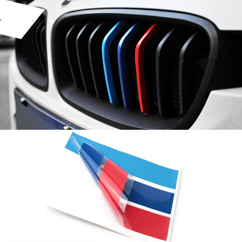 Cmcm X PVC Auto Car Styling Front Grill Stripe Decal M Sport - Bmw m colored kidney grille stripe decals