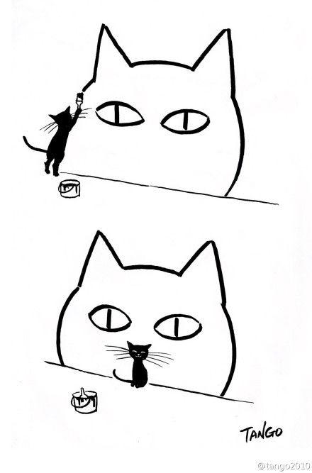 Meta Black Cat Paints Cat Graffiti 我的地盘 Katzen Malereien