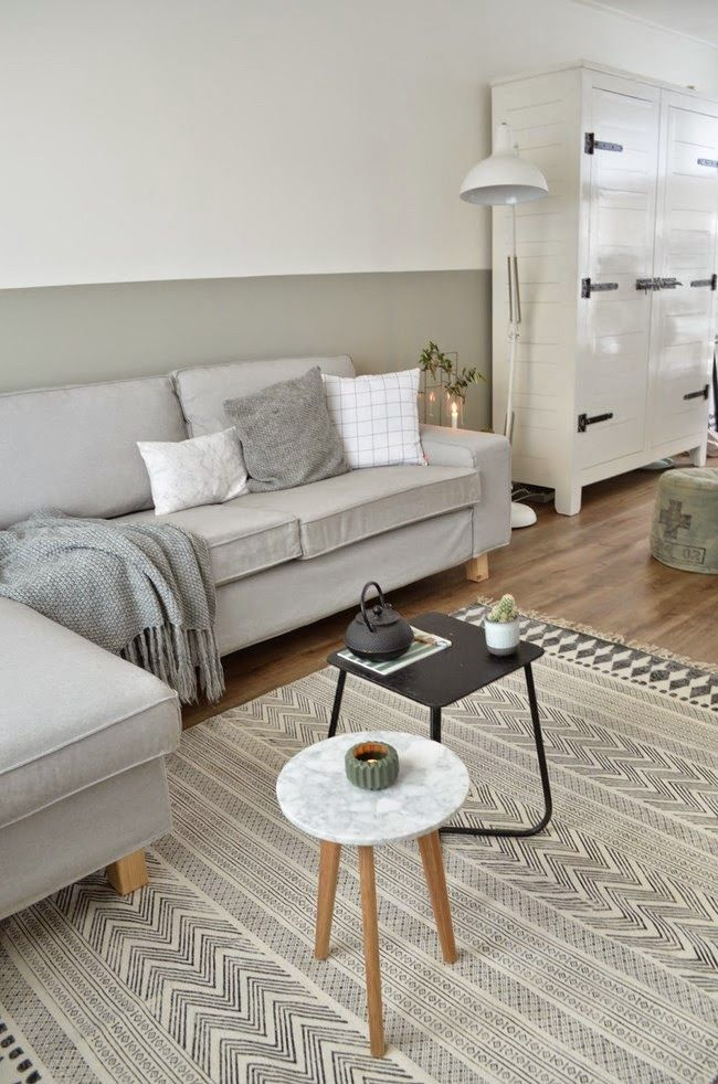 Elegancia y estilo de decorar en GRIS Y BLANCO Half painted walls