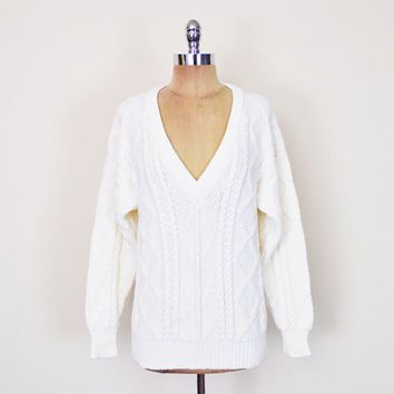 Vintage 80s Off White Irish Fisherman Sweater Jumper Cable Knit ...