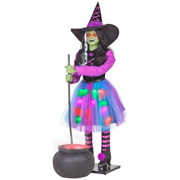 Hard To Find Gemmy Life Size ANIMATED Talking witch With Cauldron - lowes halloween