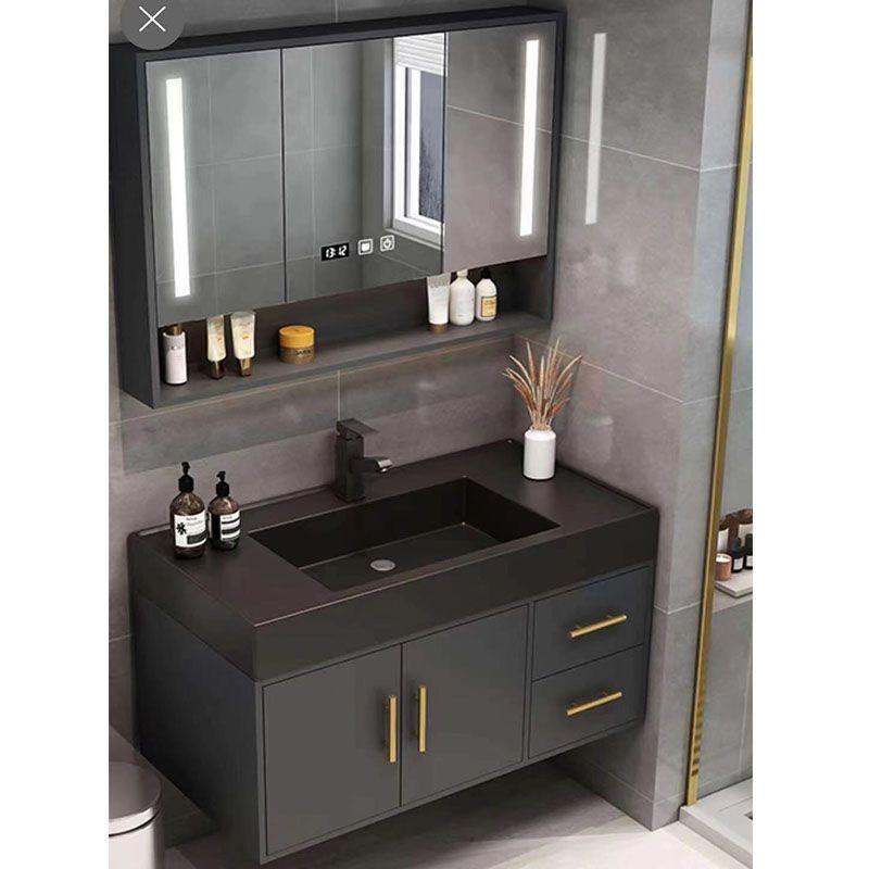 Pin On Single Sink Vanity, Black Mirrored Bathroom Cabinet