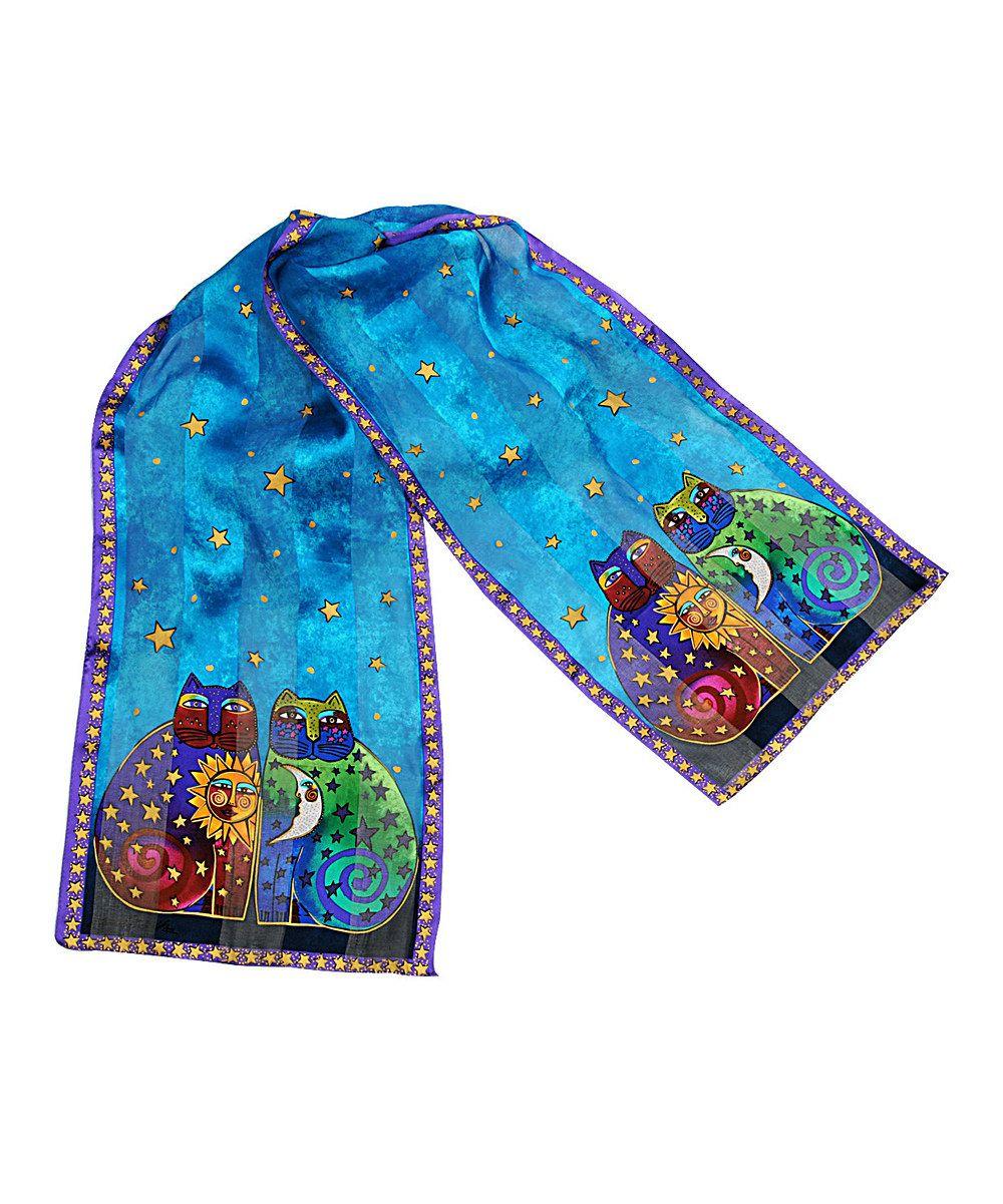 Another great find on #zulily! Laurel Burch Blue Celestial Felines Oblong Silk Scarf by Laurel Burch #zulilyfinds