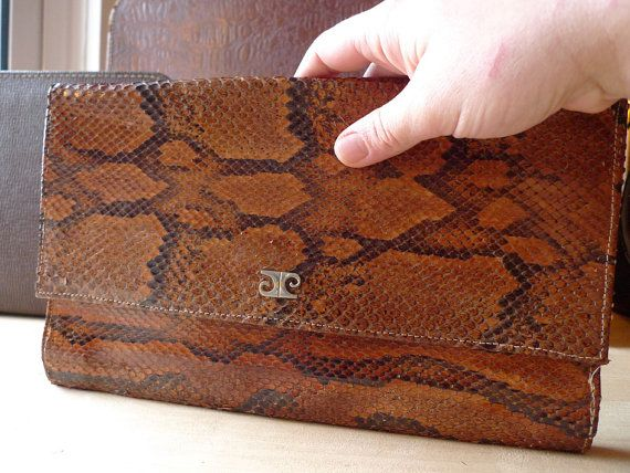 Brown Snakeleather  Vintage Envelope by doublekei on Etsy, €65.00