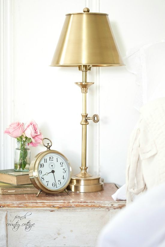 Brass candlestick style table lamp with brass shade diy decor bedroom design lightlampsplus