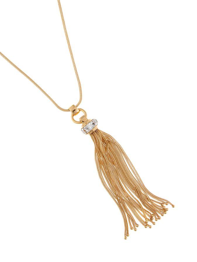 Crystal Tassel Pendant Necklace
