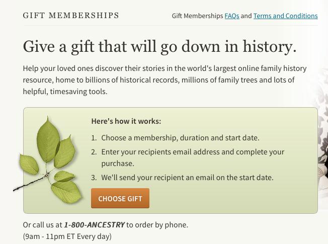 www.ancestry.com gift certificate