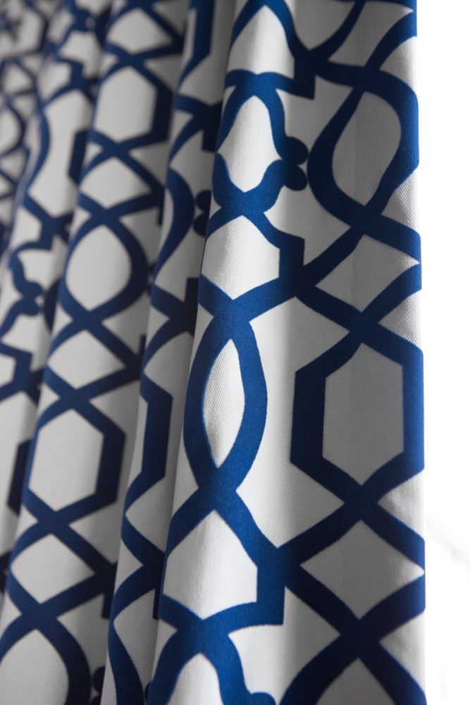 Beautiful Custom Blue Patterned Curtains Project By Massey Glenne Cool Blue Patterned Curtains