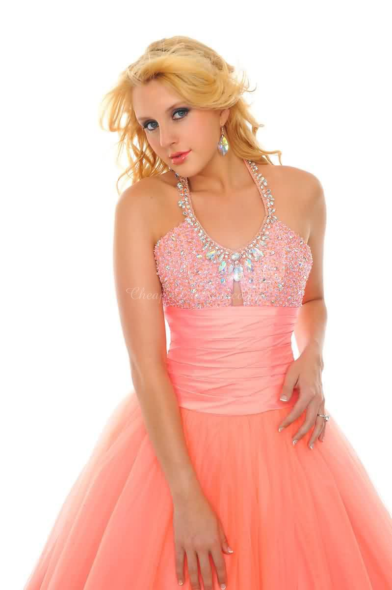 ball gown long rhinestone empire waist pleated tulle prom dress