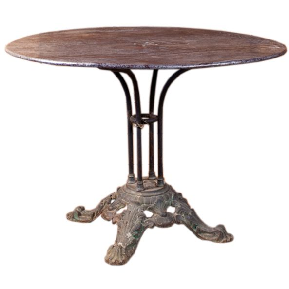 Antique French Iron Table With Cast Iron Base Circa 1890