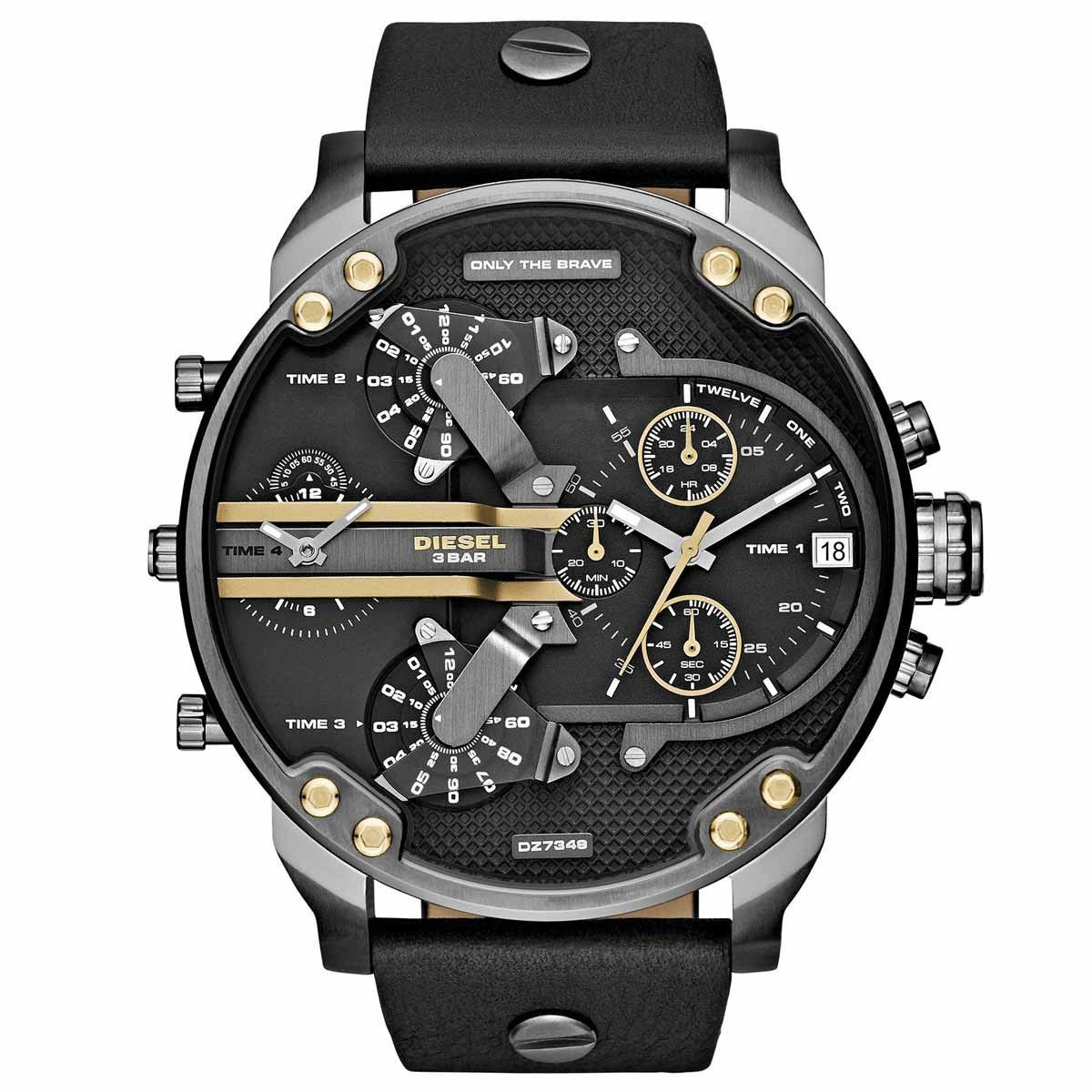 1a9bbfcc5 Diesel DZ7348 Men's Mr. Daddy 2.0 Black Dial Gunmetal IP Steel Black  Leather Strap Chrono Watch
