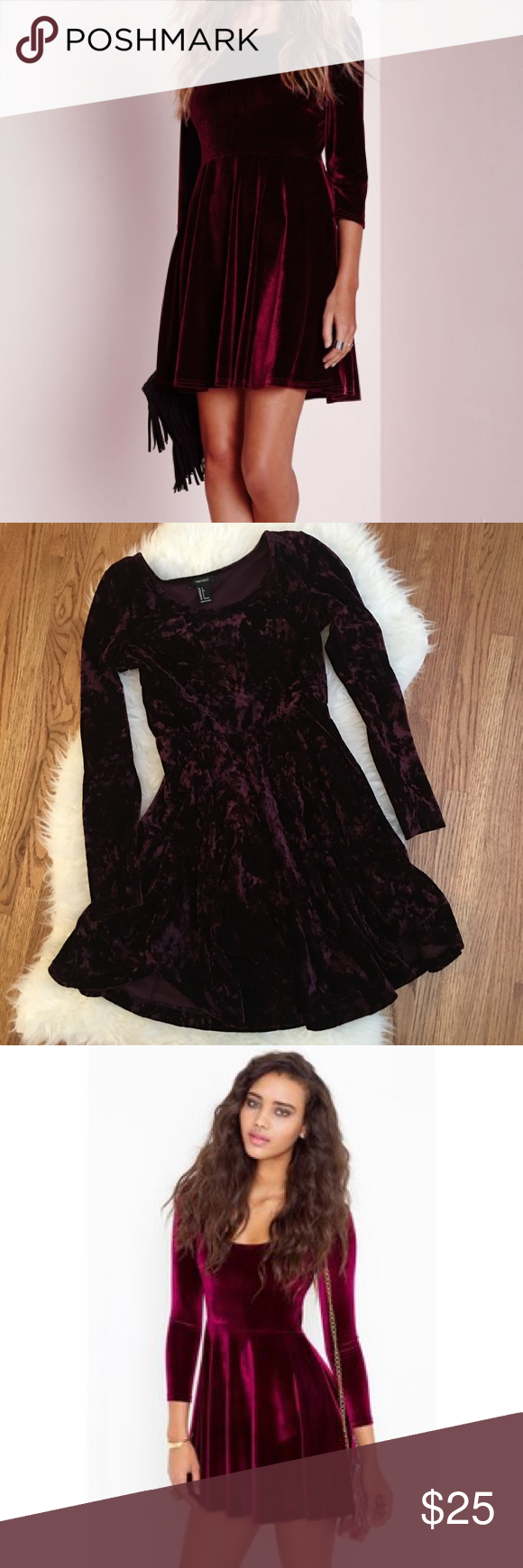Oxblood Velvet Skater Dress Size small perfect condition- F21 not UA Urban Outfitters Dresses Mini