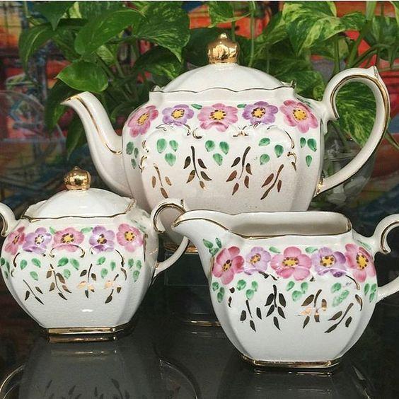 Vintage SADLER Handpainted Flower Teapot, Milk Jug and Sugar Bowl.