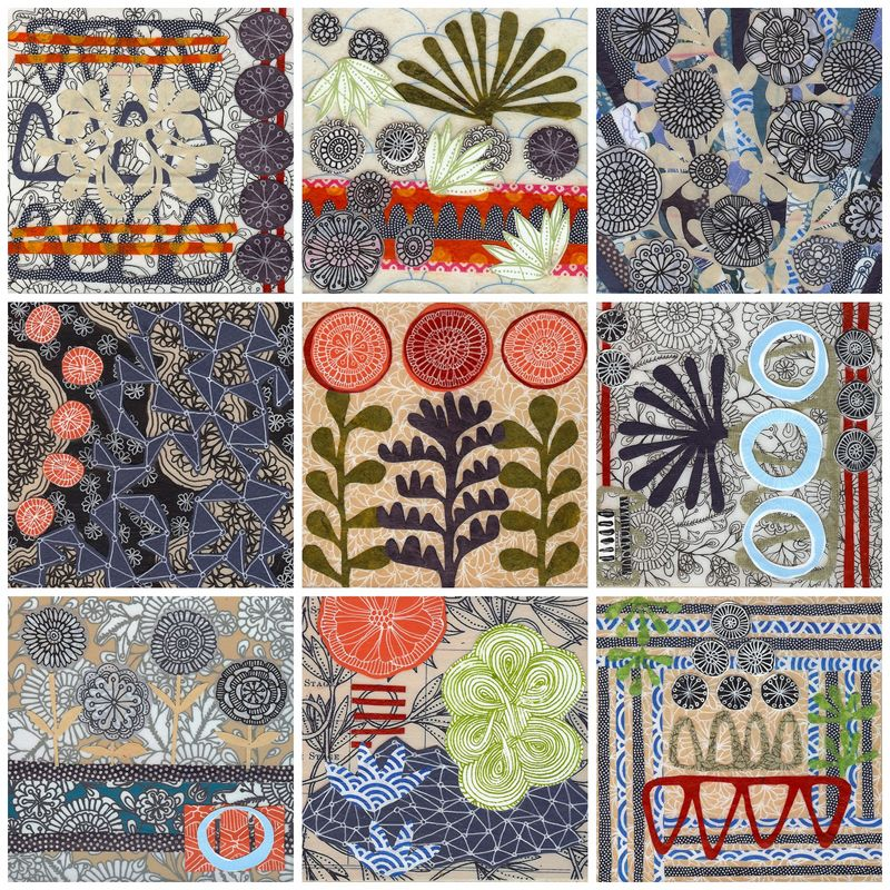 Tapestry, nine small mixed media collage pieces ~ Jennifer Judd-McGee #art #journal