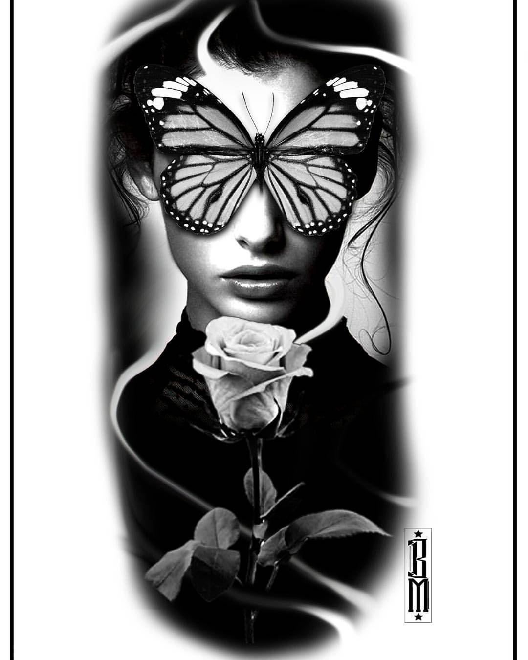 butterfly rose face women design tattoo blackandwhite madhouse tattoo pinterest. Black Bedroom Furniture Sets. Home Design Ideas