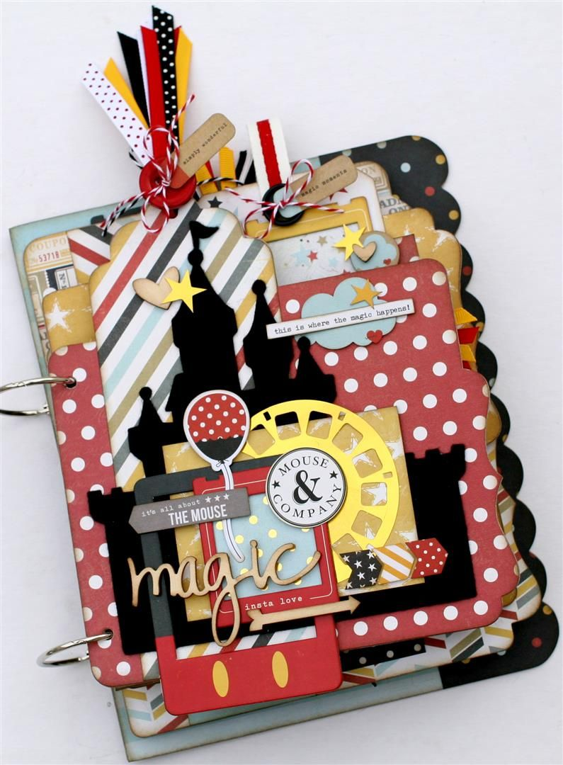 How to scrapbook disney vacation - Take This Summers Vacation Photos From Disneyland And Make This Adorable Mini Album Made In The Colors That Mickey And Minnie Are Fashionably Dres