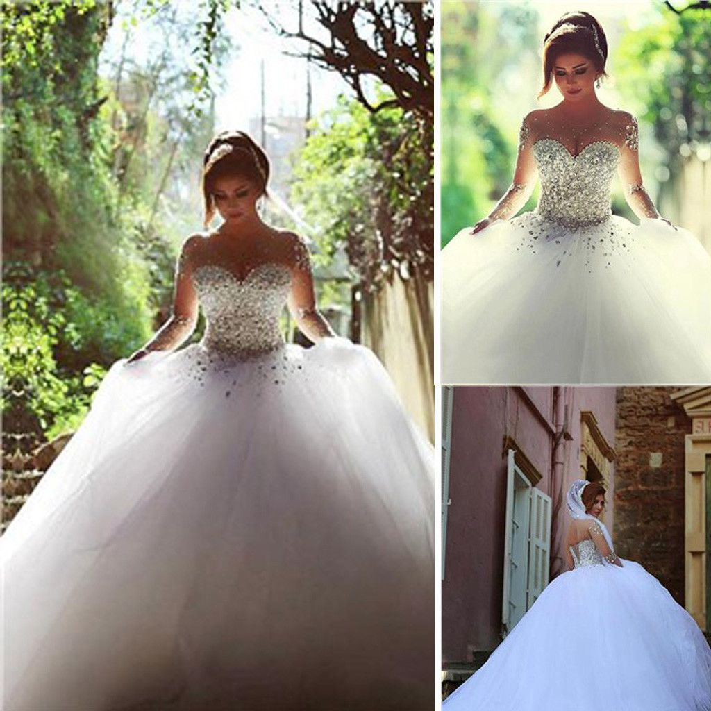 Gorgeous illusion long sleeve beaded rhinestone lace up ball gown