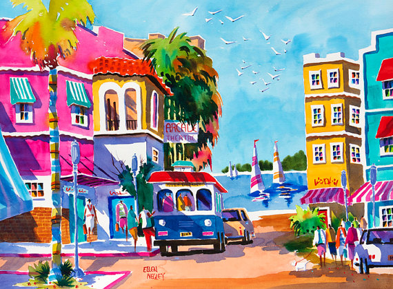 Fort Myers Florida Watercolor Print Beach Art Tropical Art