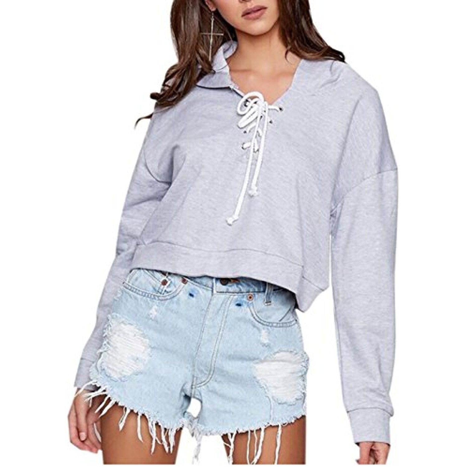 00af8d1942 Womens Loose Lace Up Hooded Sweatshirt Short Hoodie     You can find out  more details at the link of the image. (This is an affiliate link)   ...