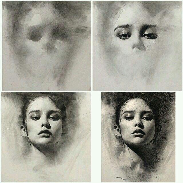 Charcoal portrait phases, adding depth, tinted paper, general to specific