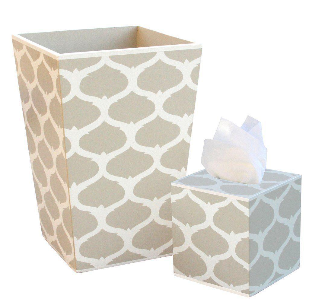 Allen G Designs Hand Painted Wooden Wastebasket and Tissue Box Set ...