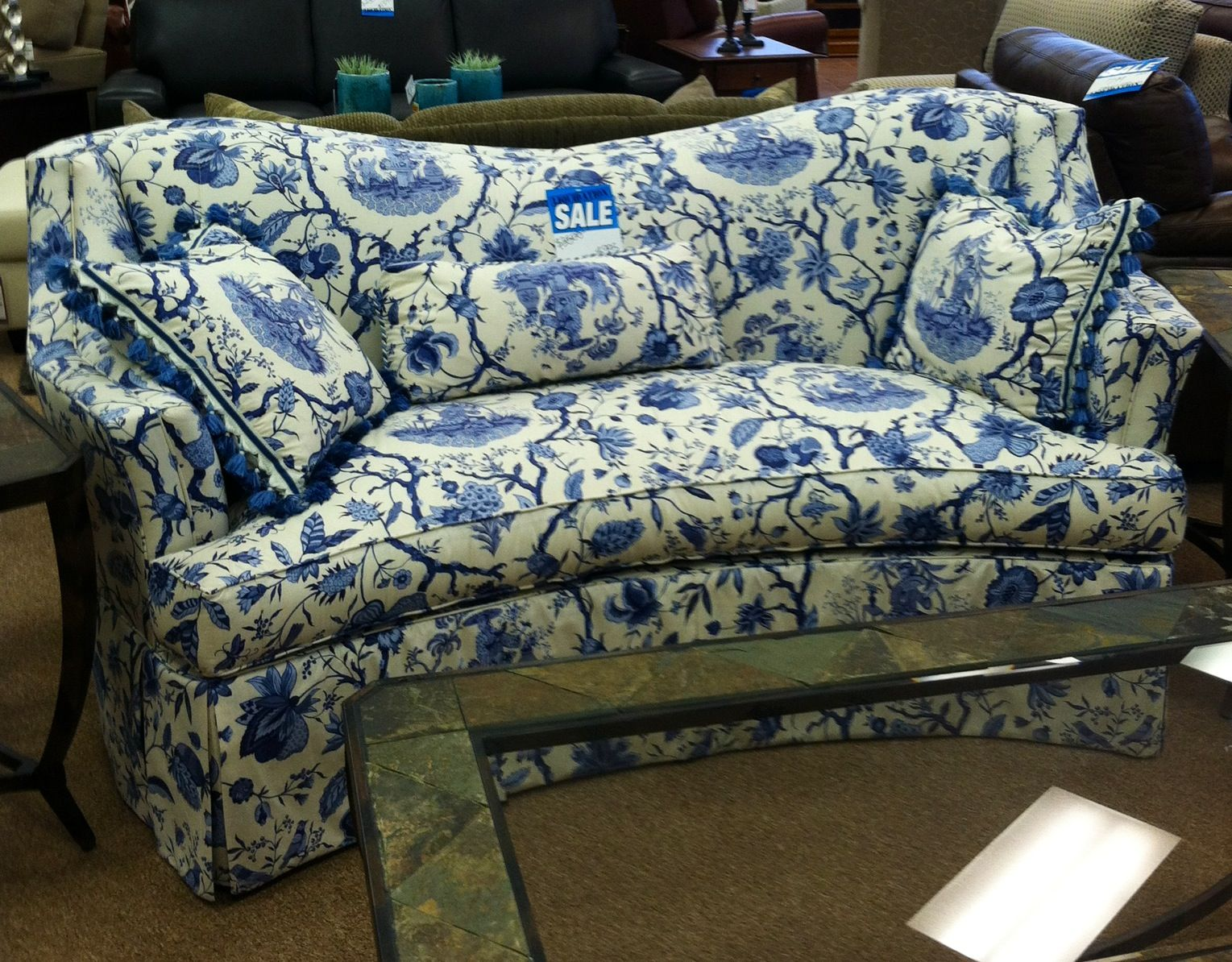 Best Navy White Oriental Toile Sofa Design Blue White 400 x 300