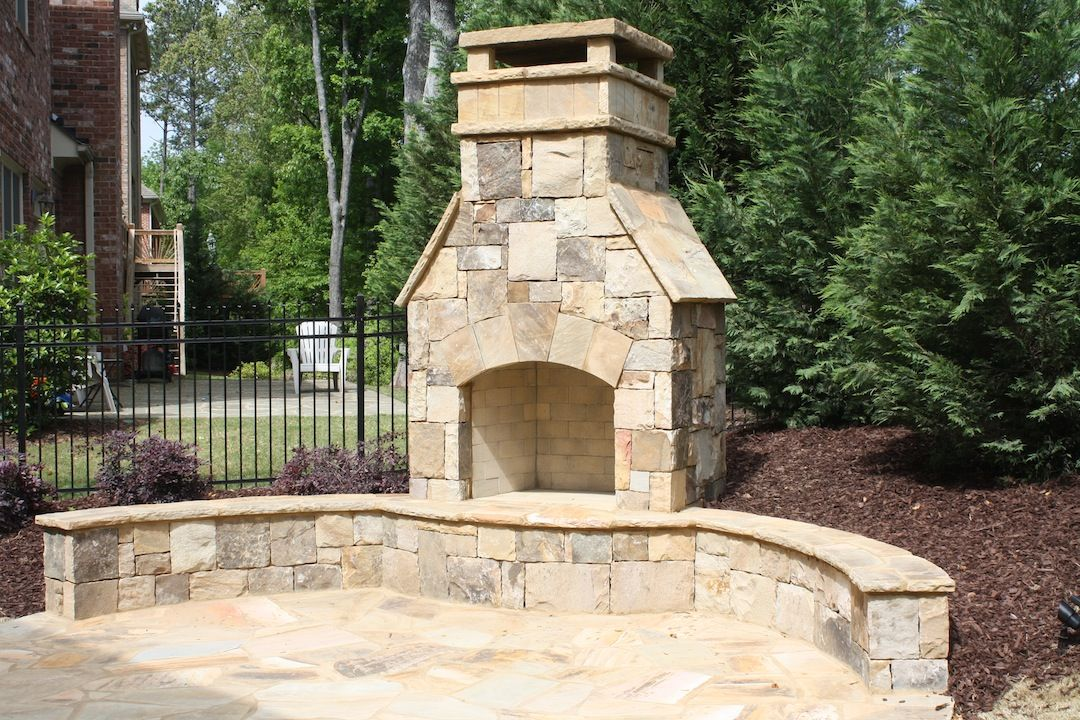 Outdoor Stone Fireplace With Seating Wall Outdoor Stone