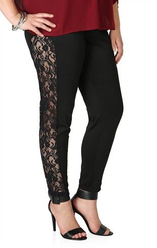 Plus Size Leggings with Crochet Lace Side Insets | Budget Savvy ...