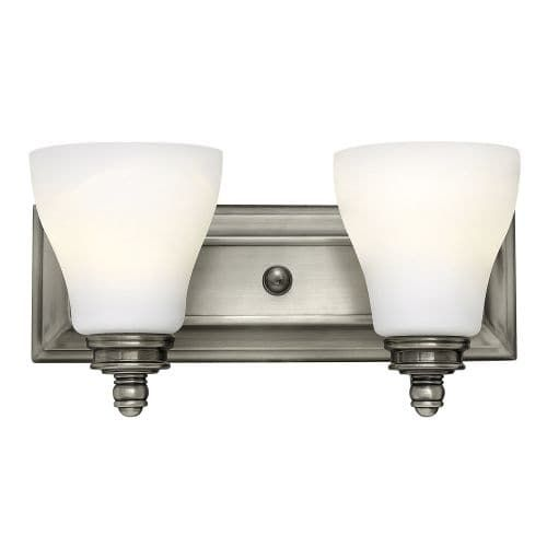 Hinkley lighting 53582 2 light 14 width bathroom vanity light from the claire collection nickel