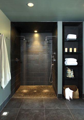 Country Chic Spa Bathroom Design Doorless Shower Design