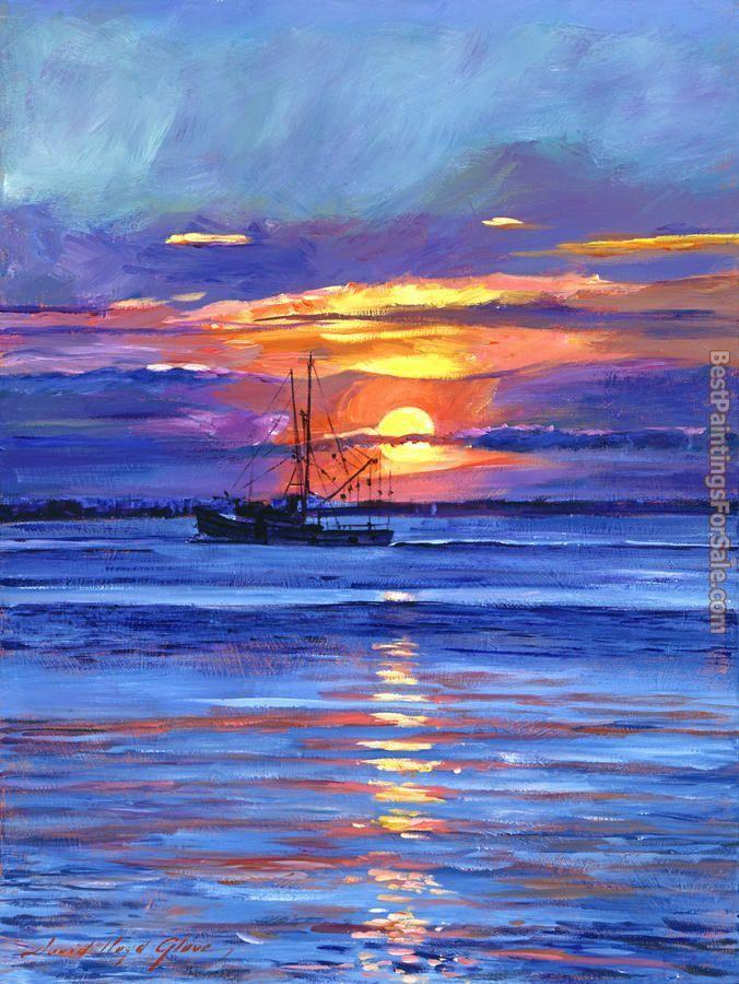 David Lloyd Glover Salmon Trawler At Sunrise Painting Ipaintingsforsale Com Sunrise Painting Landscape Paintings Fine Art