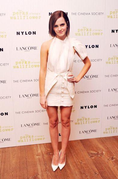 Emma Watson in Blue Flower Gown in Paris - Emma Watson Fashion Photos