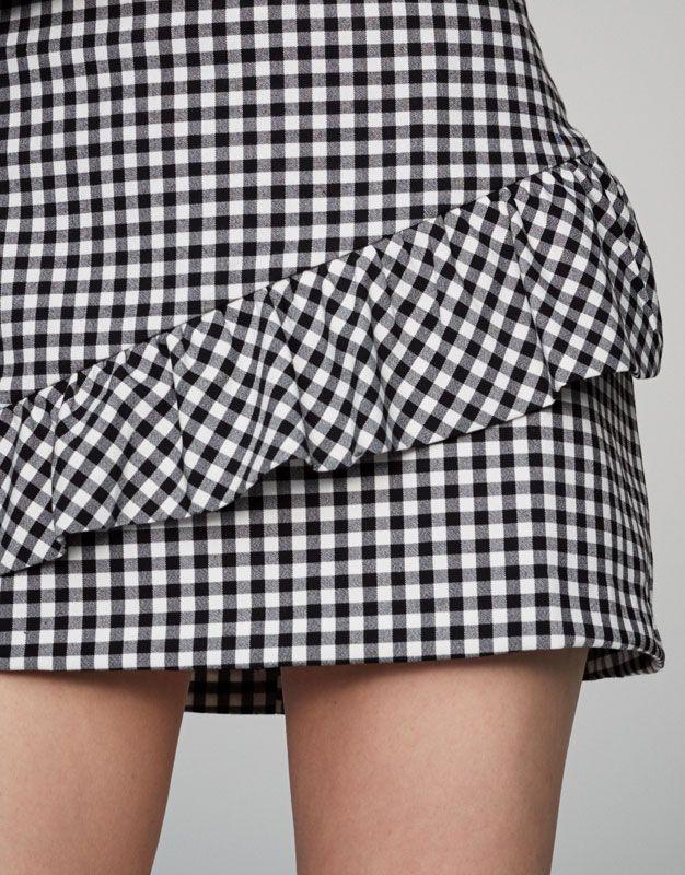 Minifalda Cuadro Vichy Volante Faldas Ropa Mujer Pull Bear