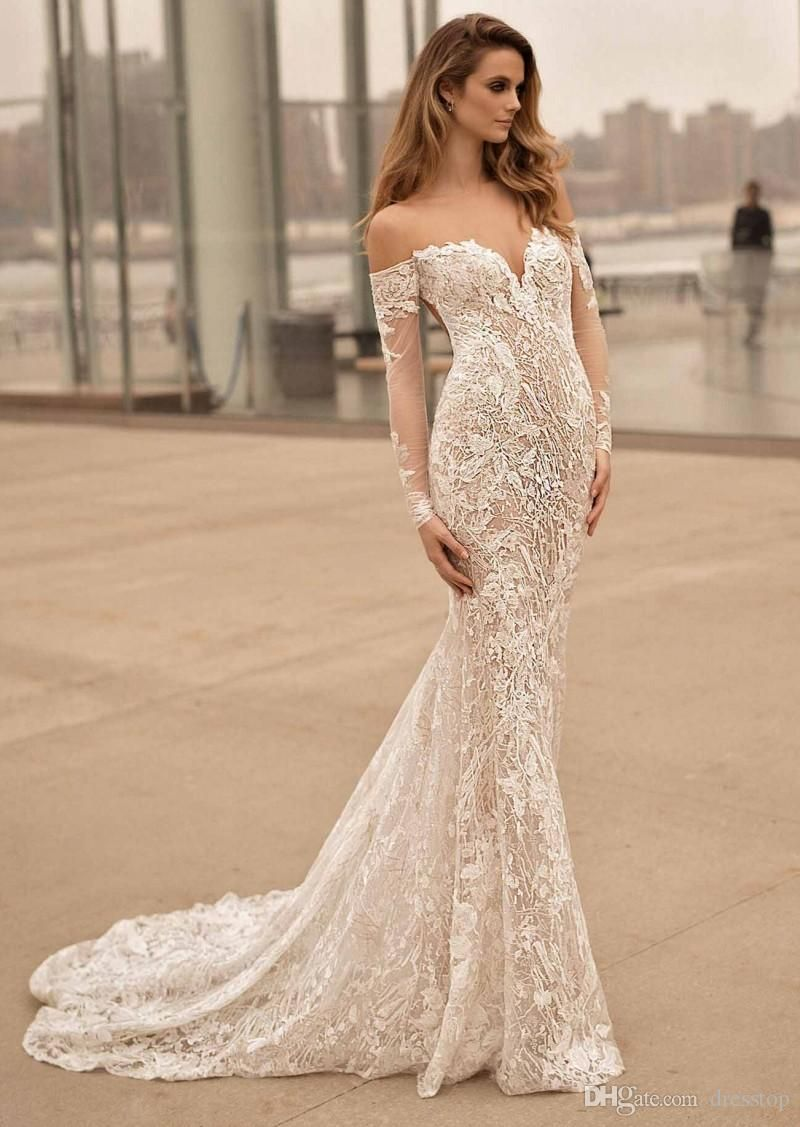 Berta wedding dresses sweetheart neck long sleeves backless bridal