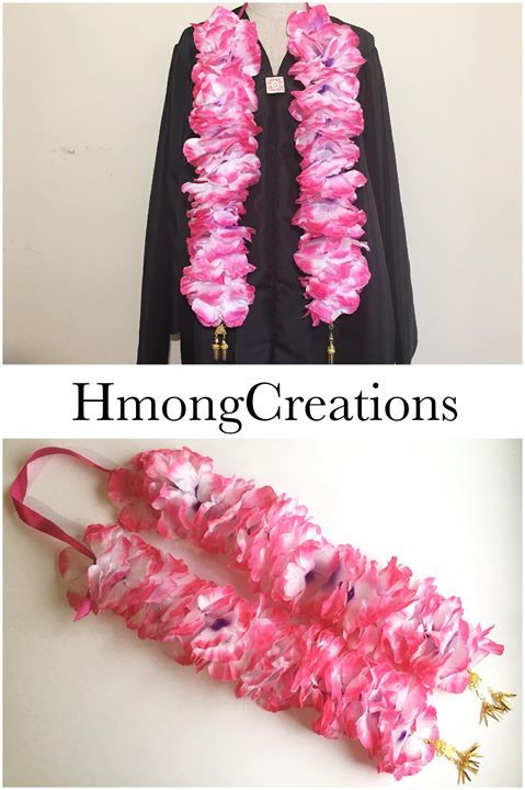 Graduation Stole | floral with Hmong dangles | Hmong Creations