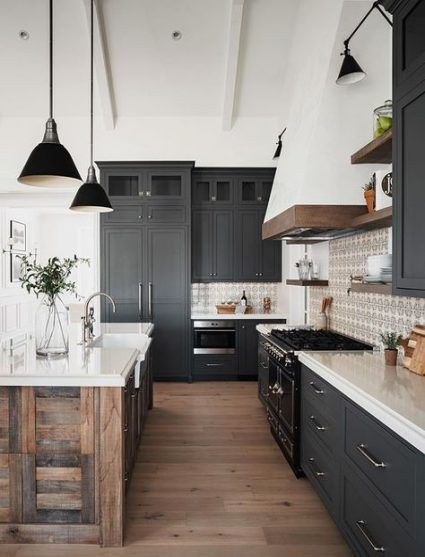 Farmhouse wooden and dark grey kitchen with black pendant lights above counter