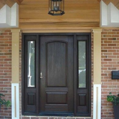 Entrance Door-Single Solid Fiberglass Woodgrain Door with 2 Side Lights Installed by Doors Toronto & Entrance Door-Single Solid Fiberglass Woodgrain Door with 2 Side ...