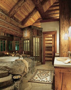 So cozy romantic cozy and romantic in cabin and log for Bachelor bathroom ideas