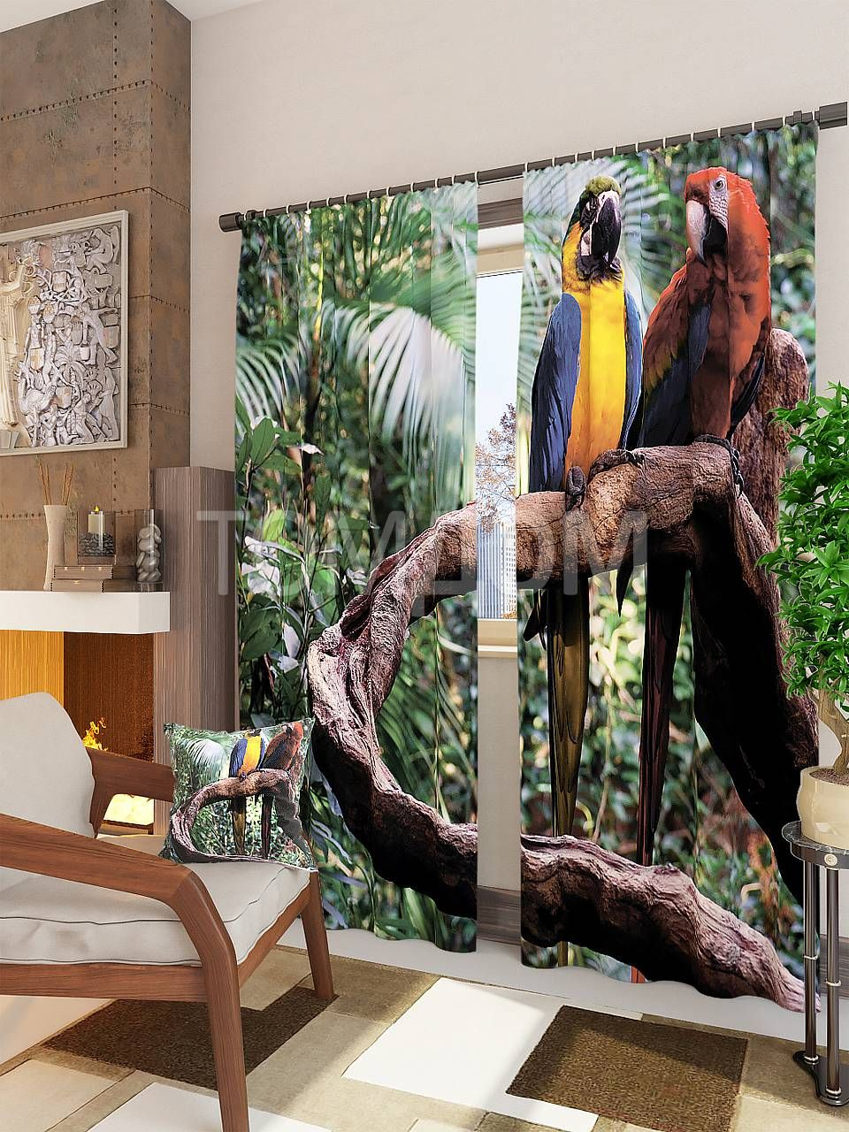 """Комплект штор """"Попугаи"""": купить комплект штор в интернет-магазине ТОМДОМ #томдом #curtains #шторы #interior #дизайнинтерьера"""