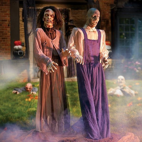 Male  Female Zombie Animated Halloween Props Animated halloween props - animated halloween decorations