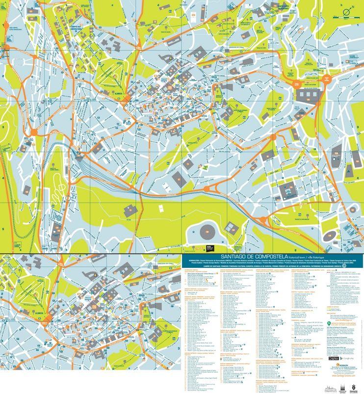 Santiago de Compostela tourist attractions map Maps Pinterest