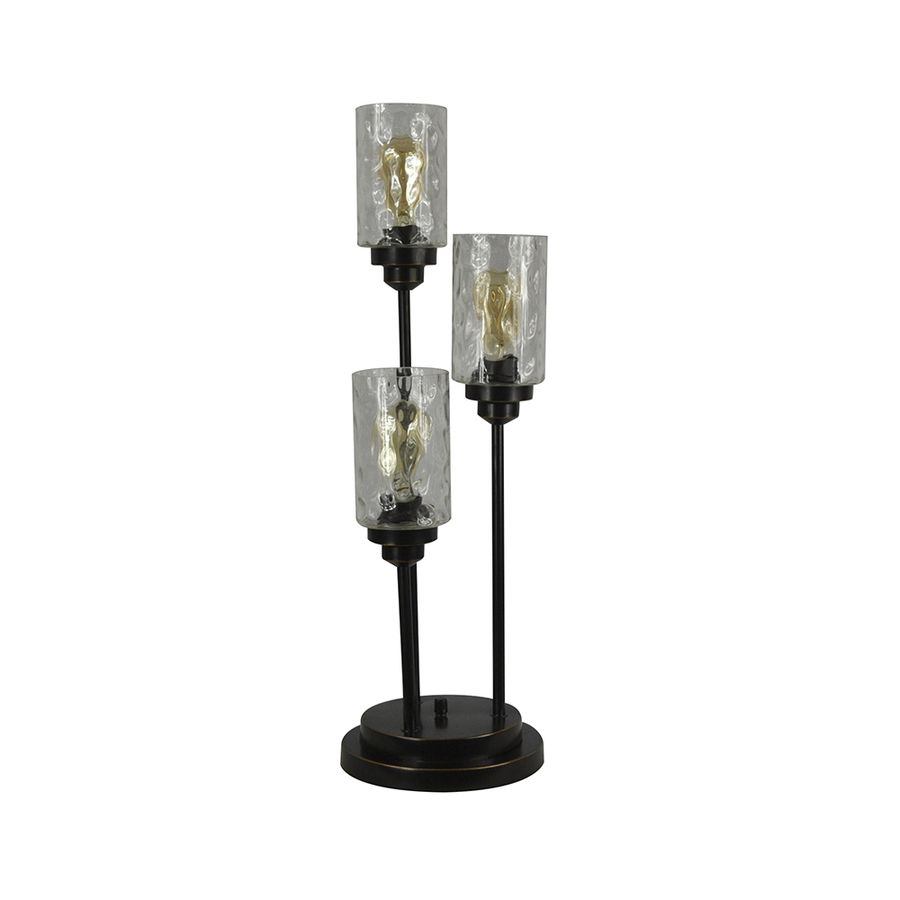 Allen + Roth Latchbury 30.5 In Bronze Standard Indoor Table Lamp With Glass  Shade (Set Of 1)