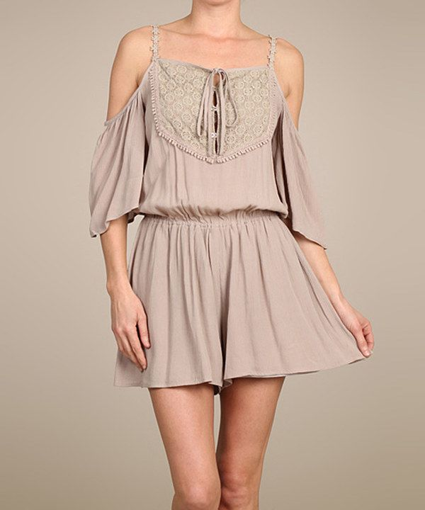 Look at this Mocha Crochet-Accent Cutout Romper on #zulily today!