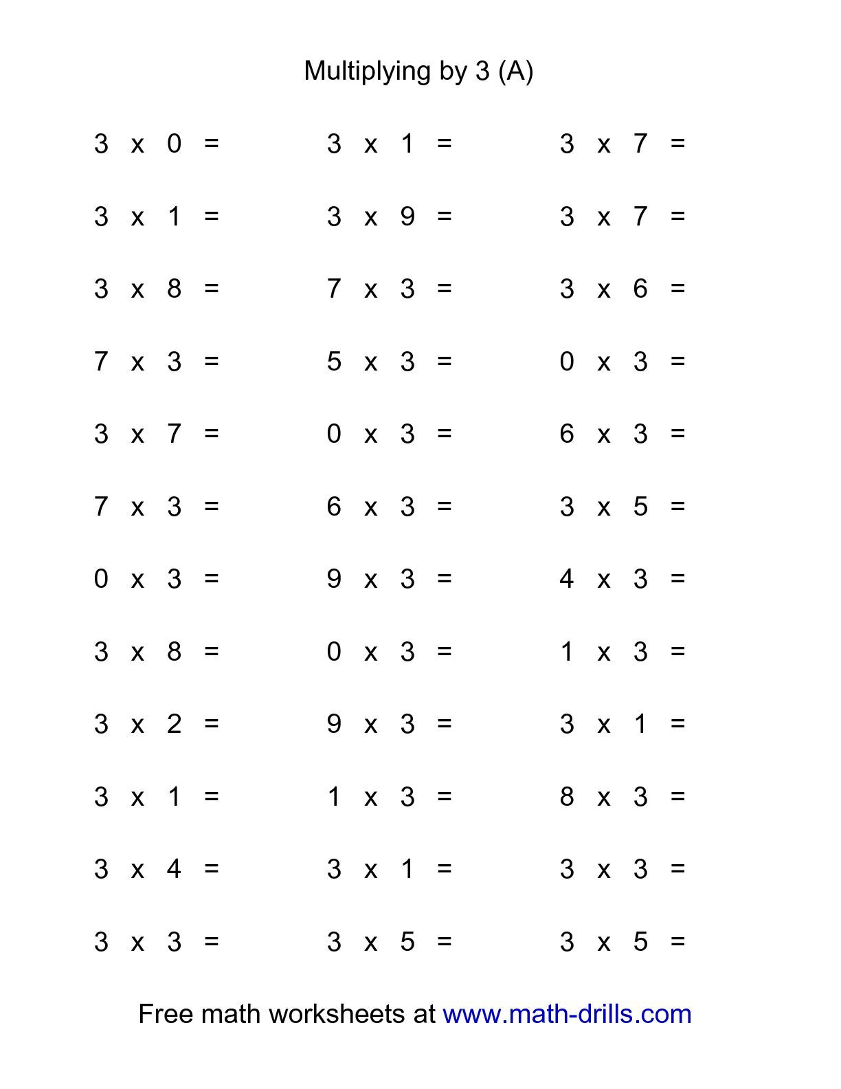 36 Horizontal Multiplication Facts Questions 3 By 0 9 A