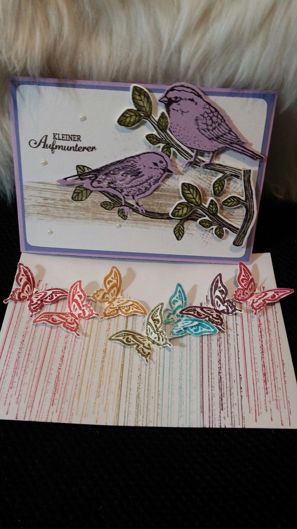 Eine Vogel Karte, mit einem Schmetterlinge Umschlag.