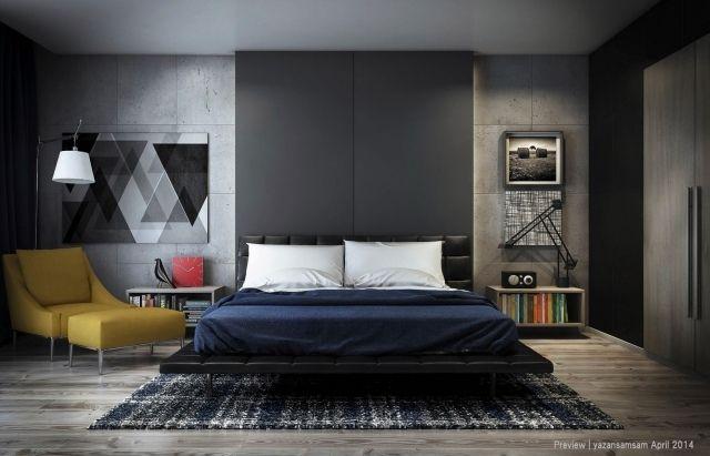 Moderne Schlafzimmergestaltung ~ Schlafzimmergestaltung ideen wandplatten beton optik paneele