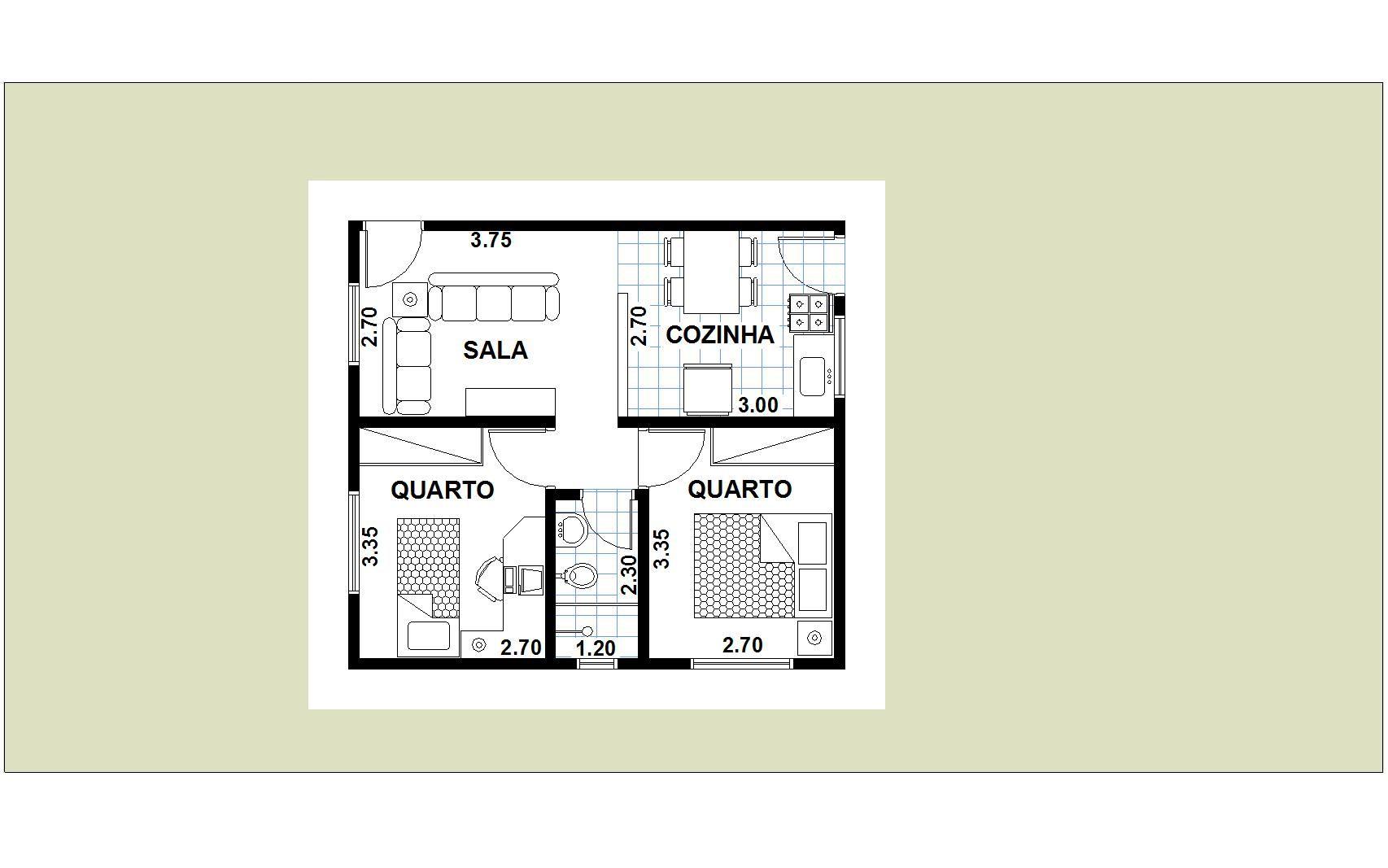 Planta De Casas Com 2 Quartos Sala Cozinha E Banheiro Avar  -> Quarto Sala Cozinha E Banheiro Para Alugar Em Sp