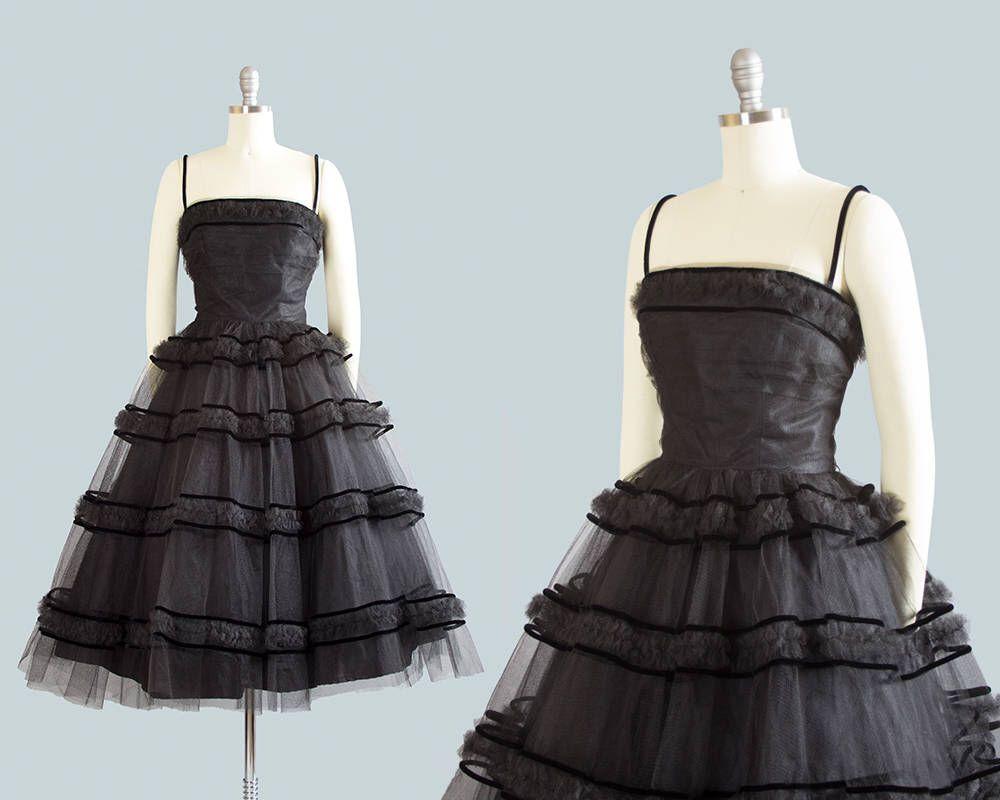 Vintage s dress s black tulle party dress velvet striped