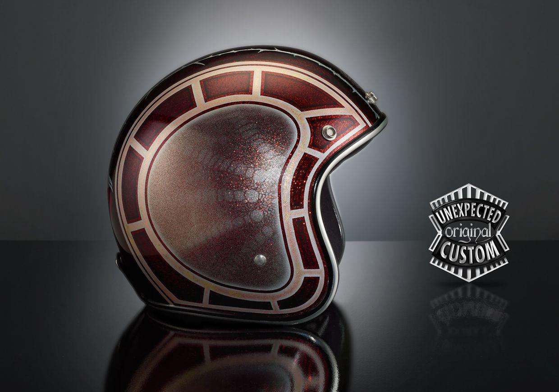 Custom Helmet TWO ROSES Achieved On Biltwell Metal Flake Red Shell Cafe Racer